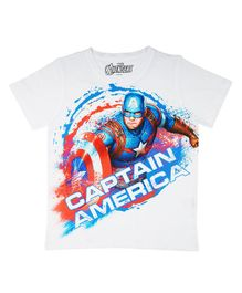 Marvel By Crossroads Half Sleeves Captain America Print Tee - White
