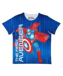 Marvel By Crossroads Half Sleeves First Avenger Print Tee - Blue