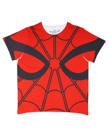 Marvel By Crossroads Half Sleeves Spider Man All Over Print Tee - Red