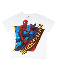 Marvel By Crossroads Half Sleeves Spider Man Print Tee - White