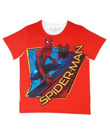 Marvel By Crossroads Half Sleeves Spider Man Print Tee - Red