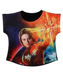 Marvel By Crossroads Cap Sleeves Captain Marvel Print Top - Multi Colour