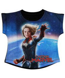 Marvel By Crossroads Cap Sleeves Captain Marvel Graphic Print Top - Blue