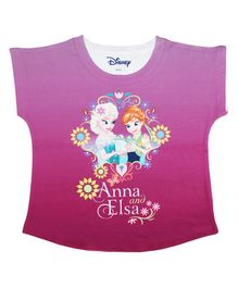 Disney By Crossroads Cap Sleeves Frozen Graphic Print Top - Pink