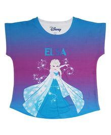 Disney By Crossroads Cap Sleeves Elsa Print Top - Blue