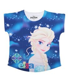 Disney By Crossroads Cap Sleeves Frozen Graphic Print Top - Blue