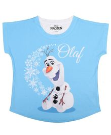 Disney By Crossroads Cap Sleeves Olaf Print Top - Blue