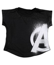 Marvel By Crossroads Cap Sleeves Avengers Logo Print Top - Black