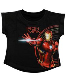 Marvel By Crossroads Cap Sleeves Iron Man Avengers Character Print Top - Black