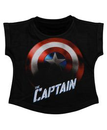 Marvel By Crossroads Cap Sleeves Captain America Print Top - Black