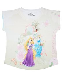 Disney By Crossroads Short Sleeves Cinderella & Rapunzel Princess Printed Top - Multi Colour
