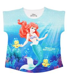 Disney By Crossroads Short Sleeves Ariel Princess Printed Top - Blue