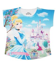 Disney By Crossroads Short Sleeves Cinderella Princess Printed Top - Blue
