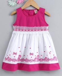 Smile Rabbit Sleeveless Frock Bow & Heart Embroidered - White Pink