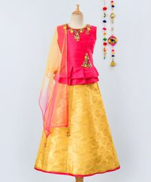 Betty By Tiny Kingdom Sleeveless Floral Embroidered Choli With Brocade Lehenga & Dupatta Set - Pink Yellow