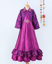 Betty By Tiny Kingdom Full Sleeves Motif Print Collared Jacket & Sleeveless Gown Set - Purple