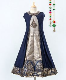 Betty By Tiny Kingdom Sleeveless Brocade Patch Gown With Long Cape - Blue
