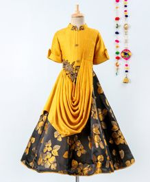 Betty By Tiny Kingdom Sleeveless Floral Print Collared Gown - Yellow