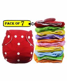 BabyMoon Reusable Cloth Diaper Set of 7 - Multicolor (No Insert)