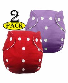 BabyMoon Reusable Cloth Diaper Set of 2 - Red Purple (No Insert )