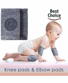 BabyMoon Anti Slip Stretchable Knee Cap & Elbow Safety Protector - Light Grey