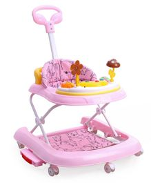 Baby Walker Cum Rocker with Music and Lights - Pink