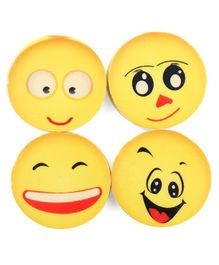 Emoji Erasers Yellow Pack of 1 - 4 Pieces