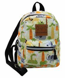 Abracadabra Jungle Designed Backpack Cream - 9 Inches