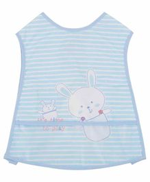 Yellow Bee Bib with Crumb Collector Bunny Print - Blue