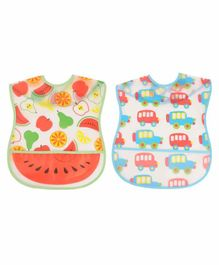 Yellow Bee Bib with Crumb Collector Fruits & Car Print Pack of 2 - Multicolor