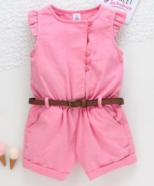 ToffyHouse Flutter Sleeves Corduroy Jumpsuit with Belt - Pink