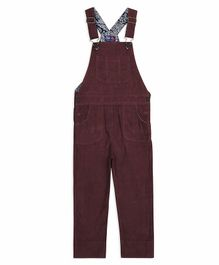 Cherry Crumble California Solid Sleeveless Front Pocket Dungaree  - Maroon