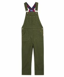 Cherry Crumble California Solid Sleeveless Front Pocket Dungaree  -  Green