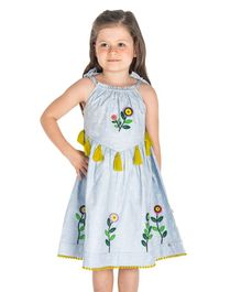 Cherry Crumble California Flower Patch Sleeveless Dress - Blue