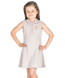Cherry Crumble California Crown Embroidered Sleeveless Polo Dress - Grey