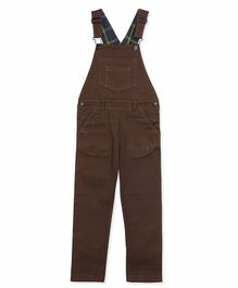 Cherry Crumble California Front Pocket Sleeveless Dungaree - Brown