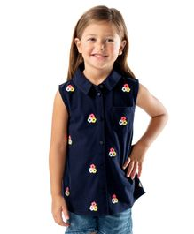 Cherry Crumble California Sleeveless Flower Embroidered Top - Navy Blue