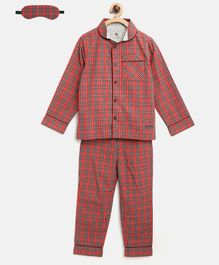 Cherry Crumble California Full Sleeves Checkered Night Suit With Sleeping Eye Mask - Red