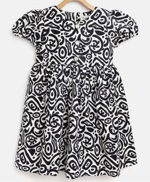 Cherry Crumble California Cap Sleeves Abstract Print Dress - White & Navy Blue