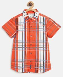 Cherry Crumble California Half Sleeves Checkered Shirt - Orange