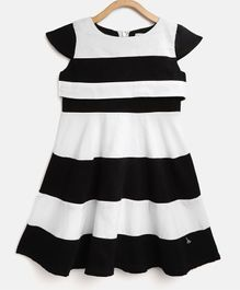 Cherry Crumble California Striped Cap Sleeves Dress - White & Black