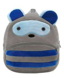 Frantic Raccoon Design Plush School Bag Blue Grey - 14 Inches