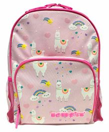 Scoobies Glow in Dark Backpack Lama Print Pink - 17.7 Inches