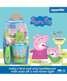 aquawhite Flash Toothbrush & Cap with Rinsing Cup Peppa Pig Print - Multicolor