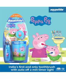 aquawhite Flash Toothbrush & Cap with Rinsing Cup Peppa Pig Print - Blue