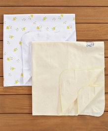 Owen Printed Receiving Cotton Blankets Pack of 2 - Yellow