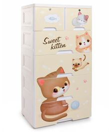 5 Compartment Chest of Drawers Kitty Print - Cream