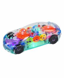 Planet of Toys 360 Degree Rotating Transparent Car with 3D Flashing Led Light & Music - Multicolor
