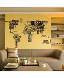 Oren Empower World Map Wall Sticker - Black