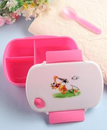 Lunch Box with Spoon Duck Print - Pink